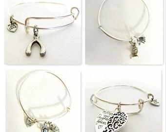 Silver Telescope, Wishbone, LPN & Hospital, or Mother and Daughter Forever Charm Bangle/Adjustable Bracelet