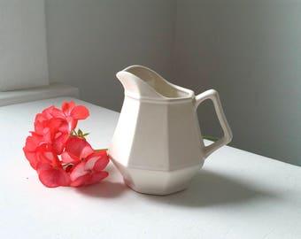 Antique Pitcher . Classic Vintage Creamer . Farmhouse Style . Home Decor . Display . White Cream Ivory . Vintage Whites . Flower Vase