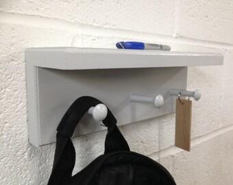 Shabby chic shaker peg rail with shelf - wooden coat hooks rack hand painted