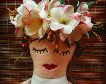 Frida floral headband with a Hawaiian twist
