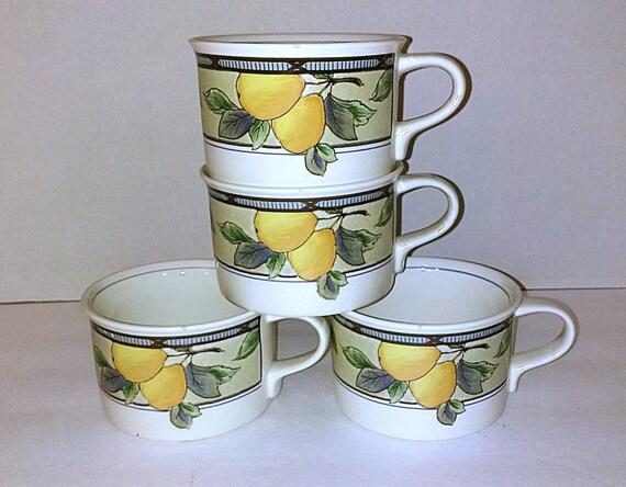 Vintage Cups Mikasa Intaglio Garden Harvest Flat Bottom Set Of
