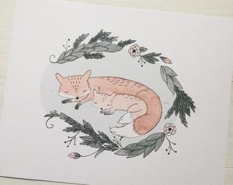 Safe & Sound Foxes - Watercolor Art Print, Nursery Art Print, Nursery Decor, Watercolor Illustration, Fox Illustration, Woodland Theme, 8x10
