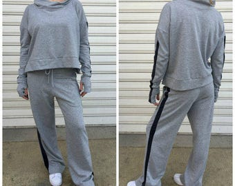 "Grey  Sport Set / Casual Women Top and Pants / Casual Activewear / Loose Cotton Sport Set / Loose Pants / Oversize Top - ""Set Me Free"""