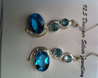 Swiss blue topaz gemstone 925 sterling silver