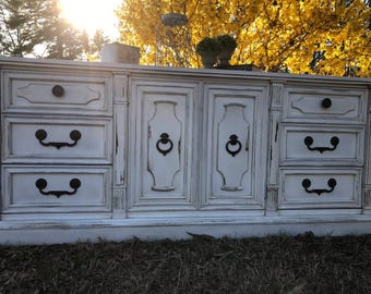 SOLD...Cottage Style Antiqued Distressed Dresser ~ TV Buffet