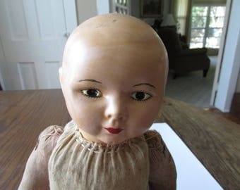 Vintage Composition Straw  Cloth Doll Bald & Beautiful!!