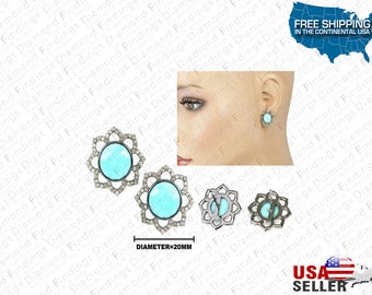 """TURQUOISE And Diamond Flower Round Stud Earring 0.925 Sterling Silver """"Custom Made"""", Blue Flower Earring, Diamond Findings, Unique Earring"""