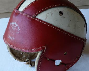 Vintage - 1940s - Draper Maynard Athletic Goods - Model DM 27 - Leather Football Helmet - USA - Youth - Red & White