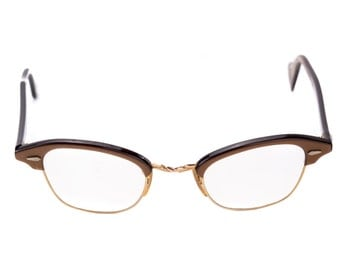 Vintage  cat eye glasses — brown and gold, 1950s spectacles, lenses included