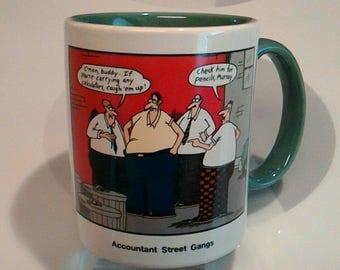 """Vintage 1987 Gary Larson The Far Side """"Accountant Street Gangs"""" Coffee Mug"""