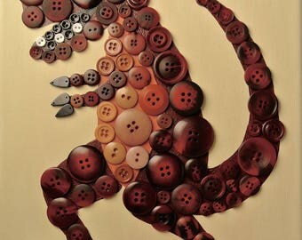 Button Art for Kids - T-Rex / Dinosaur