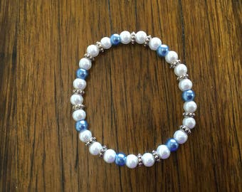 Blue and White 6mm Pearl Bracelet with Antique Silver Spacer Beads, 19cm Long, Stretchy Elastic, Bridesmaid Gift