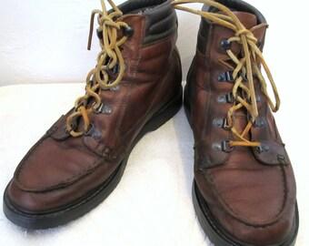 C0UPON C0DE SalE!!Men's Vintage 70's,Red HIPPIE era Leather MOC Ankle HIKING Boots.9.5
