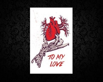 Heart Touched - Edger Allen Poe- Gothic Digital Love Card