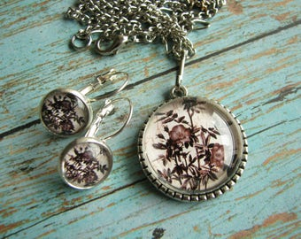 Mother Gift for her Floral set Floral jewelry Earring Pendant set Rose set Floral pendant Floral earrings Matching jewelry Antique silver