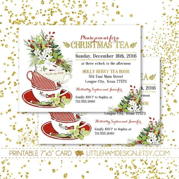 Christmas Tea Party Ideas: Printable Christmas Tea Party Invitation // Christmas Dinner