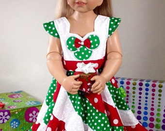 Sizes 12m-14  Disney Christmas Theme Minnie Mouse Custom Boutique Pageant Twirl Dress