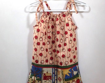 Country apples pillow case dress- Ready to ship  Size 5