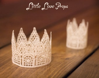 Set of 2 Newborn Off-White Cream Lace Crown Baby Photography Prop