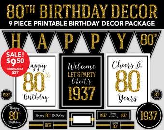 Happy Birthday Decor - 80th Birthday - 1937 Gold Glitter Design - Printable Birthday Party Decorations - Instant Download