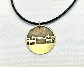 Burnside Bridge Cord Necklace, Made in Oregon, Bridges of Portland, Brass Etched Necklace, Adjustable Corded Necklace, Hand Forged Necklace