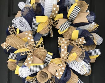 Summer wreath - everyday wreath - navy and yellow wreath - summer front door wreath - burlap wreath - summer deco mesh wreath - summer