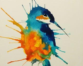 A3 Kingfisher Watercolour Print