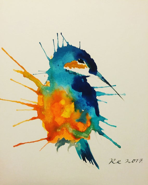 A4 Kingfisher Watercolour Print
