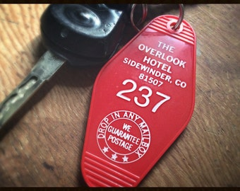 On Sale! The Shining inspired OVERLOOK HOTEL Room 237 KEYCHAIN (white lettering)