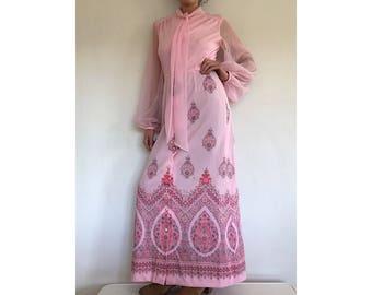 Alfred Shaheen Maxi Dress - Pink Sheer Paisley Print Gown - 70's Boho Peasent Dress - Vintage Long Sleeve Necktie Gown - Hawaiian Dress