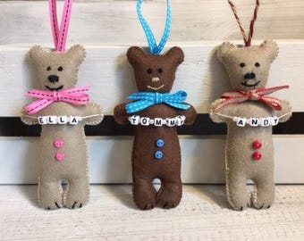 Personalised Individual Felt Teddy - handmade hanging decoration - Available in 2 colours