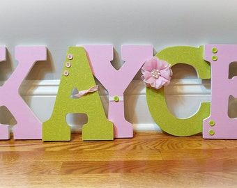 Nursery letters girl, green and pink nursery decor, girl nursery letters, wooden hanging letters, wooden letters for girl room