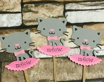 20 Kitten cupcake topper, cat cupcake topper, meow cupcake topper