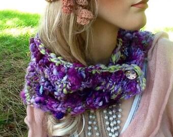 Alpaca shawl, hand knit alpaca cowl, flapper girl cowl, flapper shawl, alpaca wrap, alpaca cowl, purple alpaca cowl, purple alpaca wrap,