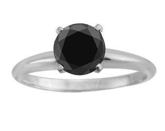 1.00ct Genuine Round Black Diamond 14k White Gold Solitaire Engagement Ring