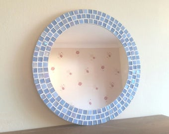 Mosaic Wall Mirror - Ice Blue / Pale Blue / Violet - 40cm - Round Bathroom Mirror  *Made to Order*