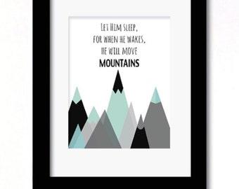 A4 move mountains aqua print