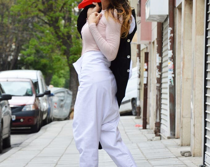 White Linen Drop Crotch Pants, Extravagant High Waist Trousers, Women's Loose Pants by SSDfashion