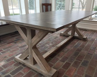 Custom Made Weathered X Base Table - Up To 9' Length!