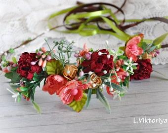 Flower crown Fall flower crown Bridal floral crown Bridal hair vine Headpiece Vine Autumn wedding crown Bridal Flower Crown Winter LV12
