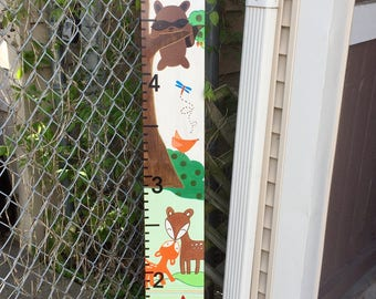 Woodland Tales by Lambs & Ivy Inspired Growth Chart, including owls, raccoon, fox, bunny, squirrel and turtle