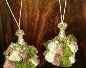 Tassels-Pair- RETRO Pink, Green and Cream