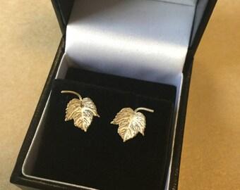 Sterling silver, leaf shaped stud earrings