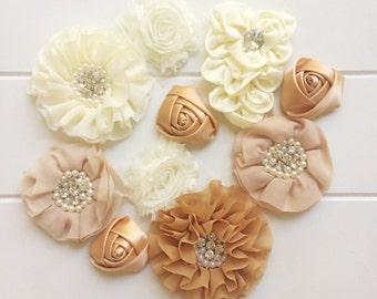 Cream/Bronze Fabric Flower Pack DIY Baby Headband Craft Embellishments