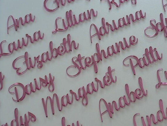 Laser Cut Names Personalised Pink Wedding Place Cards Name