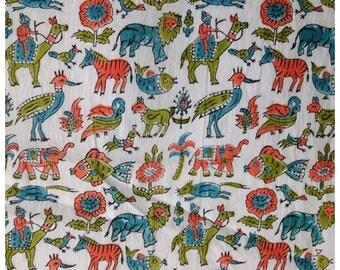 5 Yards Animal & Birds Block Print Fabric Design Pattern For Kids, Printed Cotton Fabric, Cotton Printed Fabric, Block Print Fabric