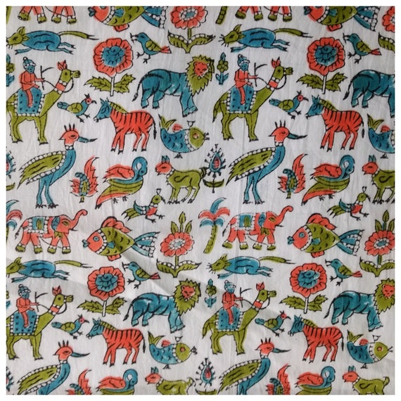 5 yards animal birds block print fabric design pattern for Animal print fabric for kids