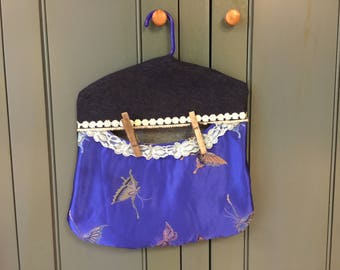 """Butterflies Daisies Large CLOTHESPIN BAG 13x14"""""""
