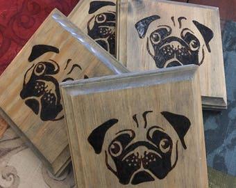 Pugs Wooden Coaster -  Set of 4