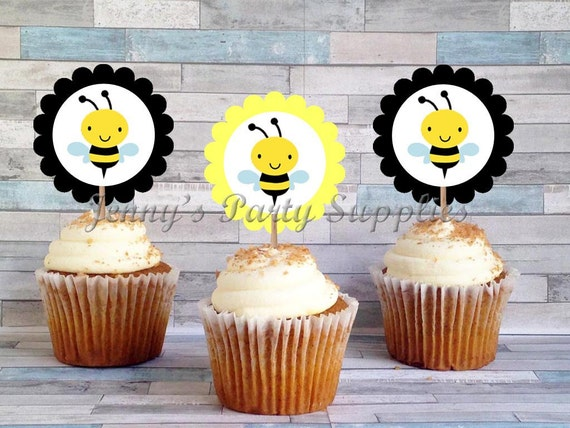 Set Of 12 Bee Cupcake Toppers First Birthday